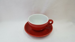 Cappuccino cup and saucer red