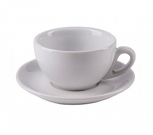 Cappuccino cup and saucer white